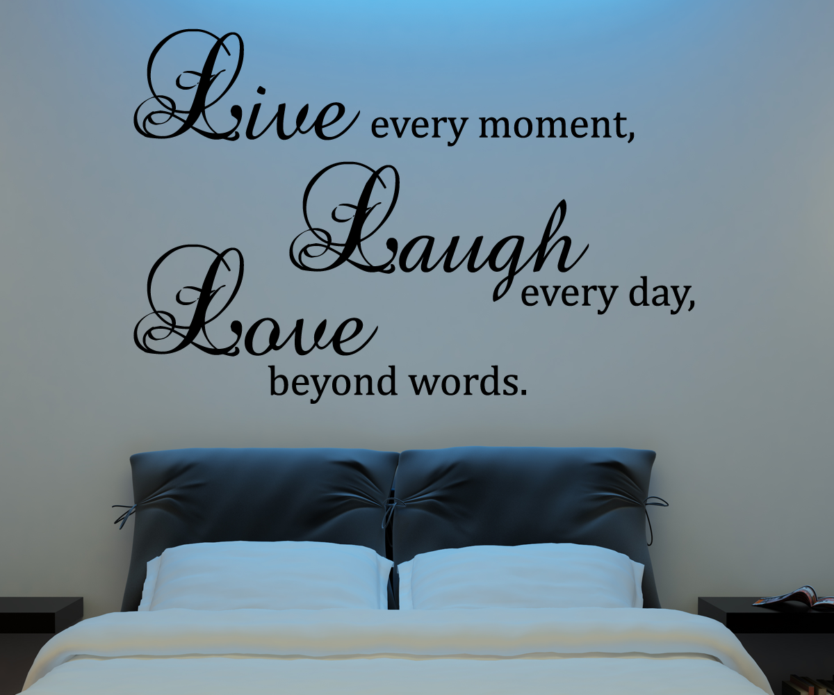 Live laugh love wall decal vinyl sticker quote art living for Living room decor quotes