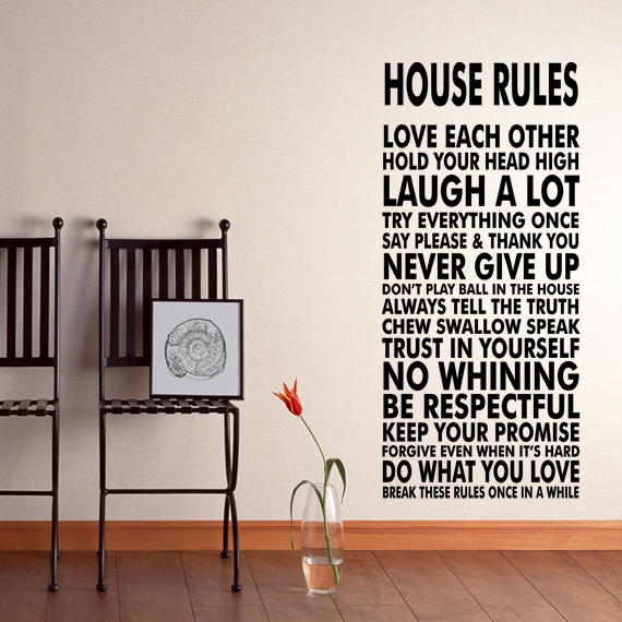House rules vinyl wall decal sticker we do art vinyl for Dining room wall art stickers